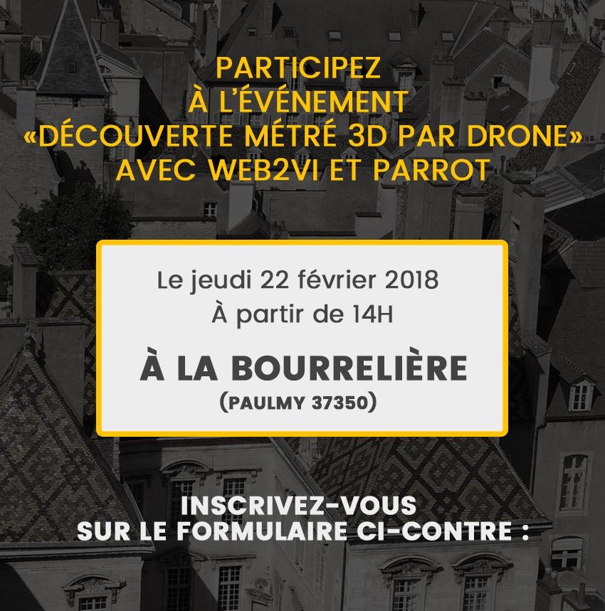 Événement Web2vi Parrot drone métré 3D La Bourrelière Paulmy